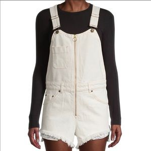 Free People sunkissed Shortall overalls off white